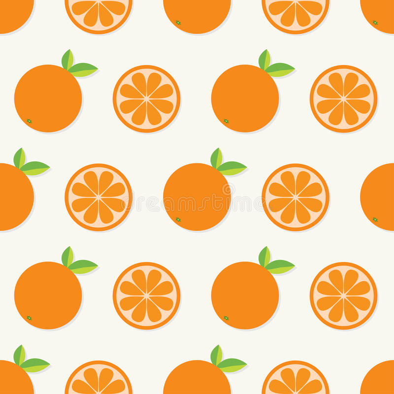 Orange fruit set with leaf in a row. Cut half Healthy lifestyle food. Seamless Pattern White background. Flat design. stock illustration