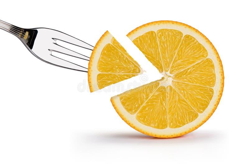 Orange fruit and slice illustration royalty free illustration