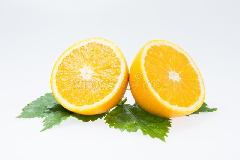 Orange fruit slice isolated stock photo