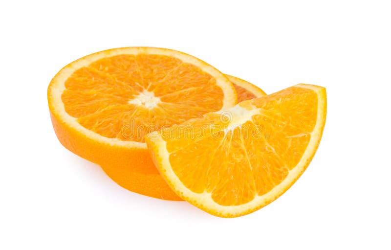 Orange fruit slice isolated on white background,fruit healthy co stock images