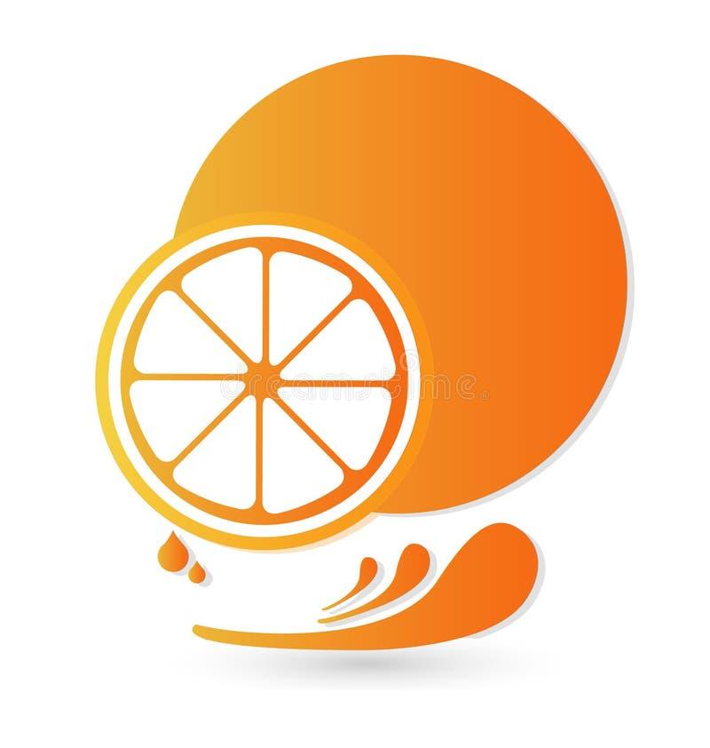 Orange fruit splash illustration vector icon stock illustration