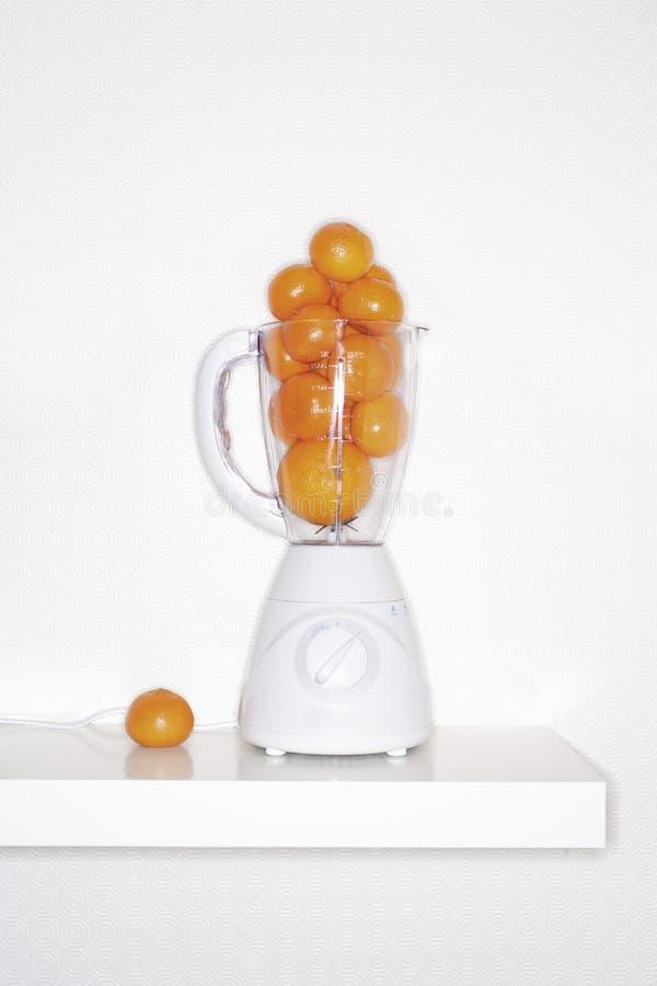 Orange fruits in blender stock photography