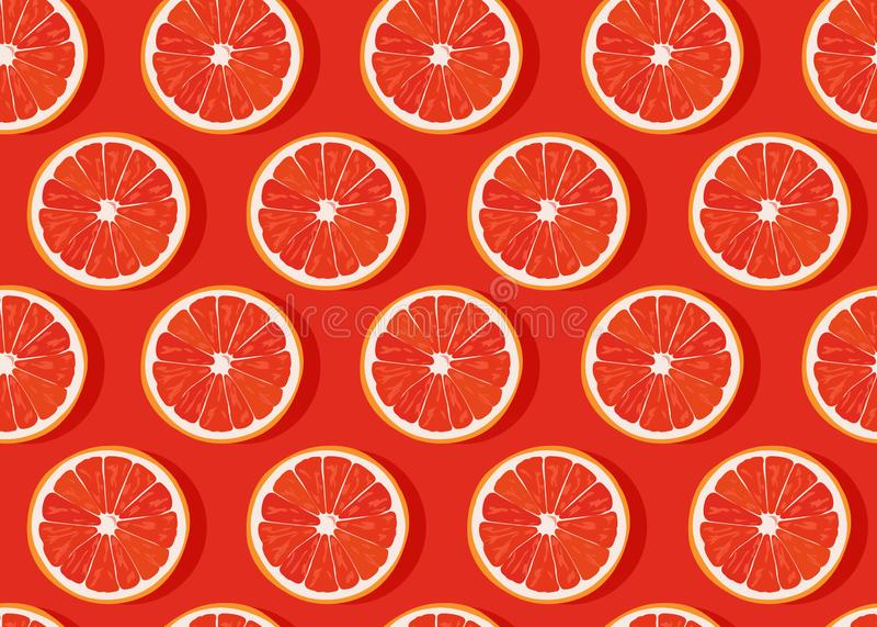 Orange fruits slice seamless pattern on orange background with shadow. Grapefruit citrus fruit vector illustration