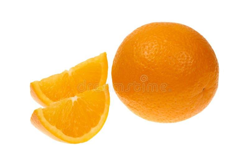Orange frukt och två segment eller cantles som isoleras på vitt bakgrundsutklipp royaltyfria bilder