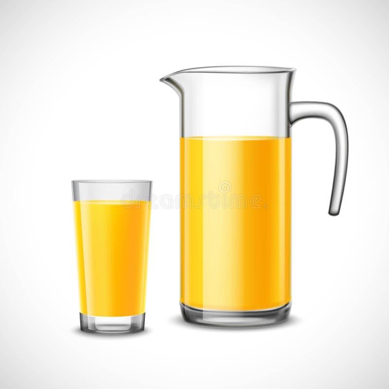 Orange fruktsaft i exponeringsglas och tillbringare royaltyfri illustrationer