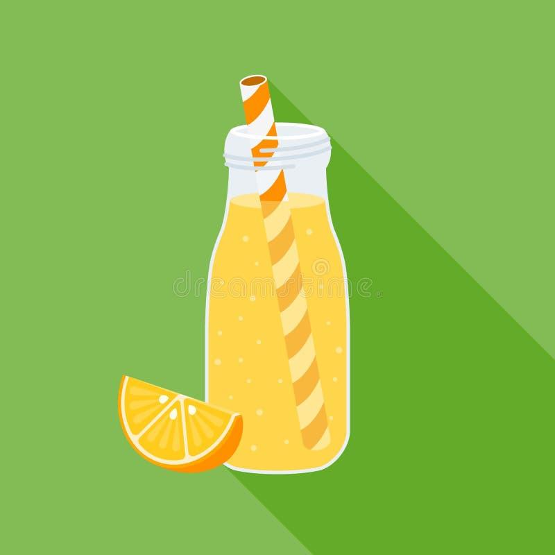 Orange fruktsaft i flaskan, lägenhetdesign stock illustrationer