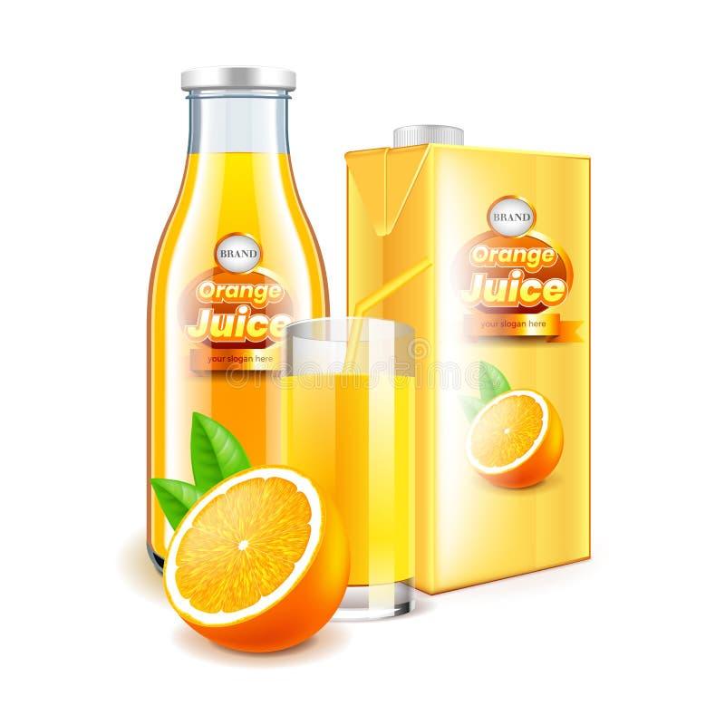 Orange fruktsaft i glasflaska och den förpackande realistiska vektorn 3d vektor illustrationer