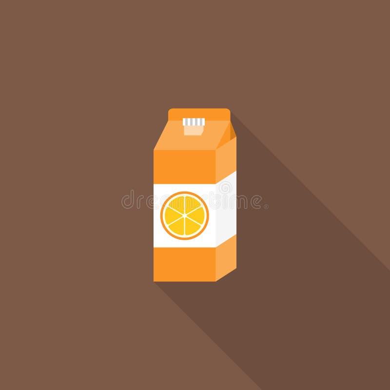 Orange fruktsaft i lådabehållare stock illustrationer
