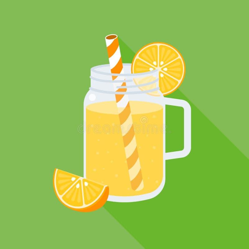 Orange fruktsaft i murarekrus stock illustrationer