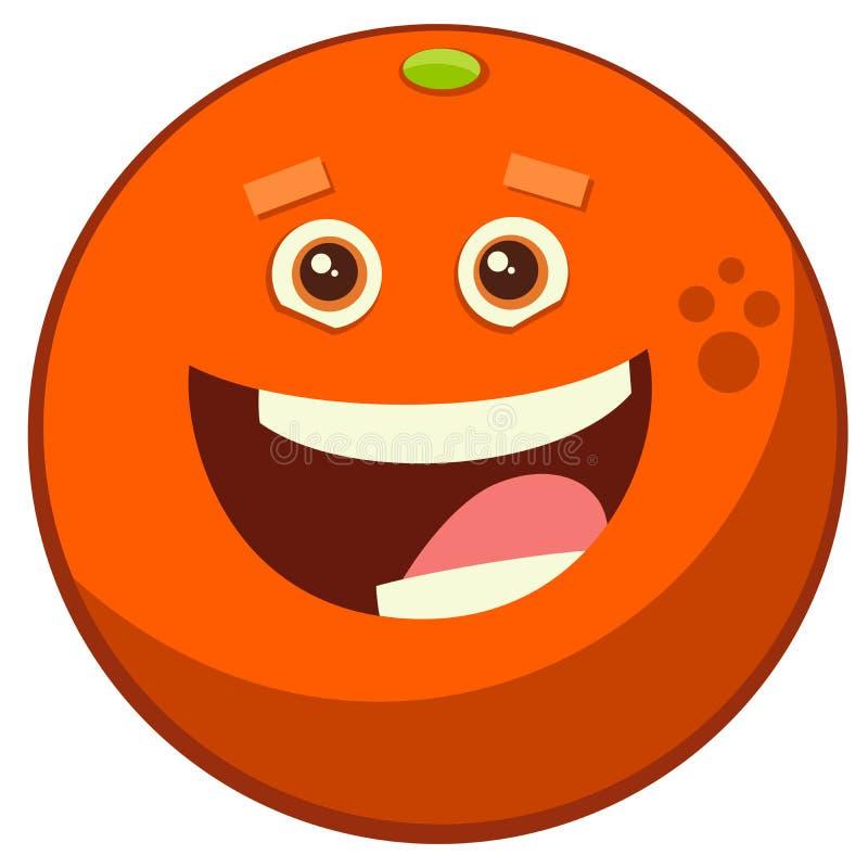 Orange frukttecken för tecknad film stock illustrationer