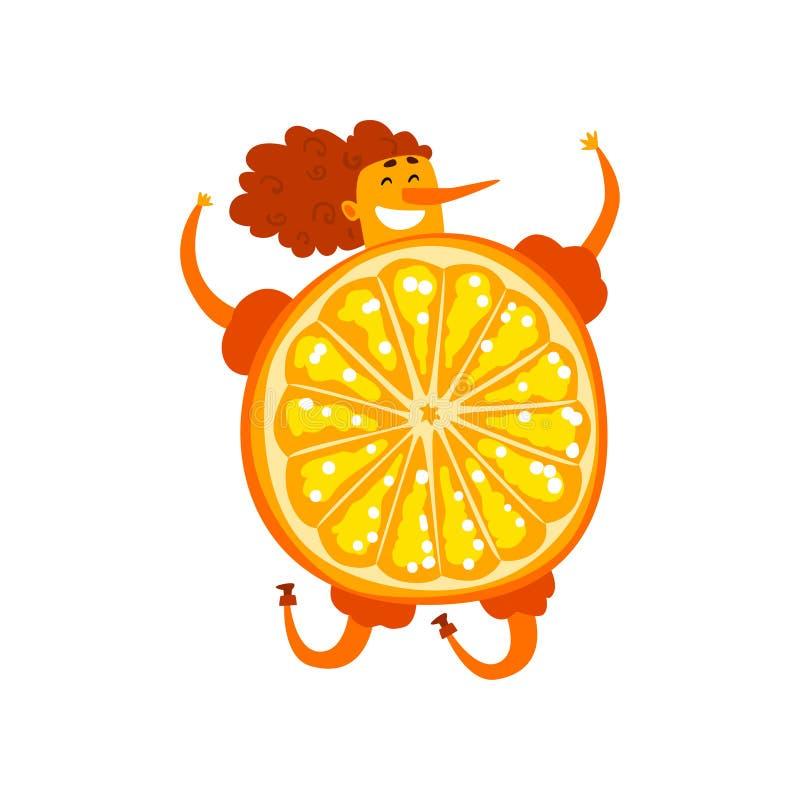 Orange frukttecknad filmtecken, lycklig flicka i rolig illustration för fruktdräktvektor på en vit bakgrund vektor illustrationer