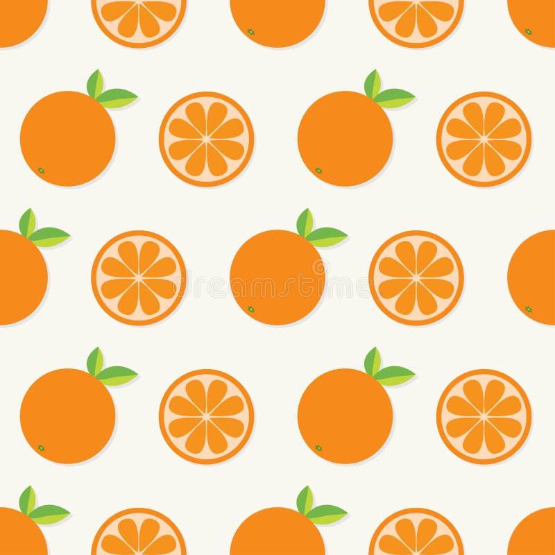 Orange fruktuppsättning med bladet i rad Klipp halv sund livsstilmat Sömlös modellvitbakgrund Plan design stock illustrationer