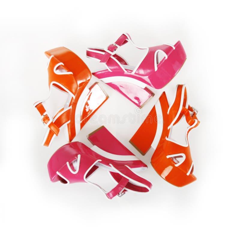 Download Orange And Fuchsia Colors Platform Shoes Stock Photo - Image of female, elegant: 23876506