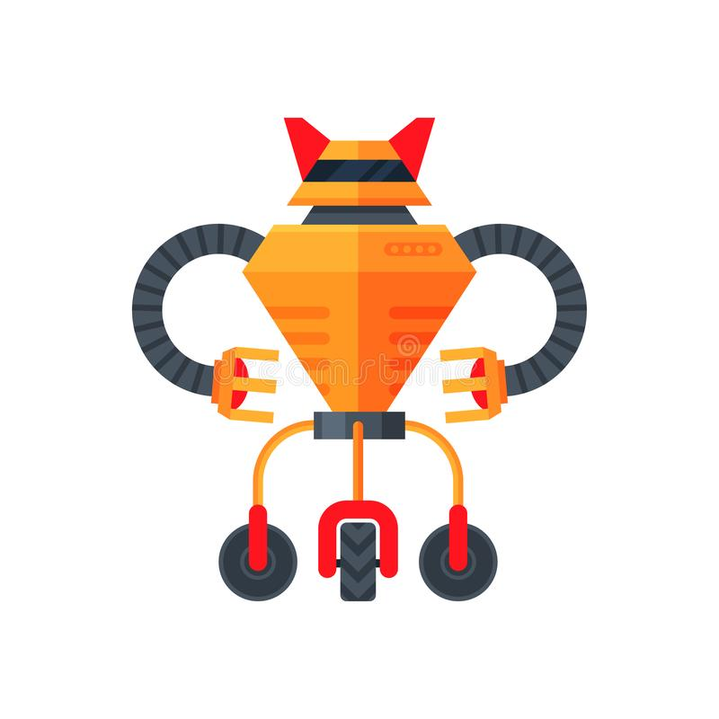 Orange futuristic transformer of three wheels. Humanoid robot. Metal android. Artificial intelligence. Flat vector icon. Orange futuristic transformer of three vector illustration