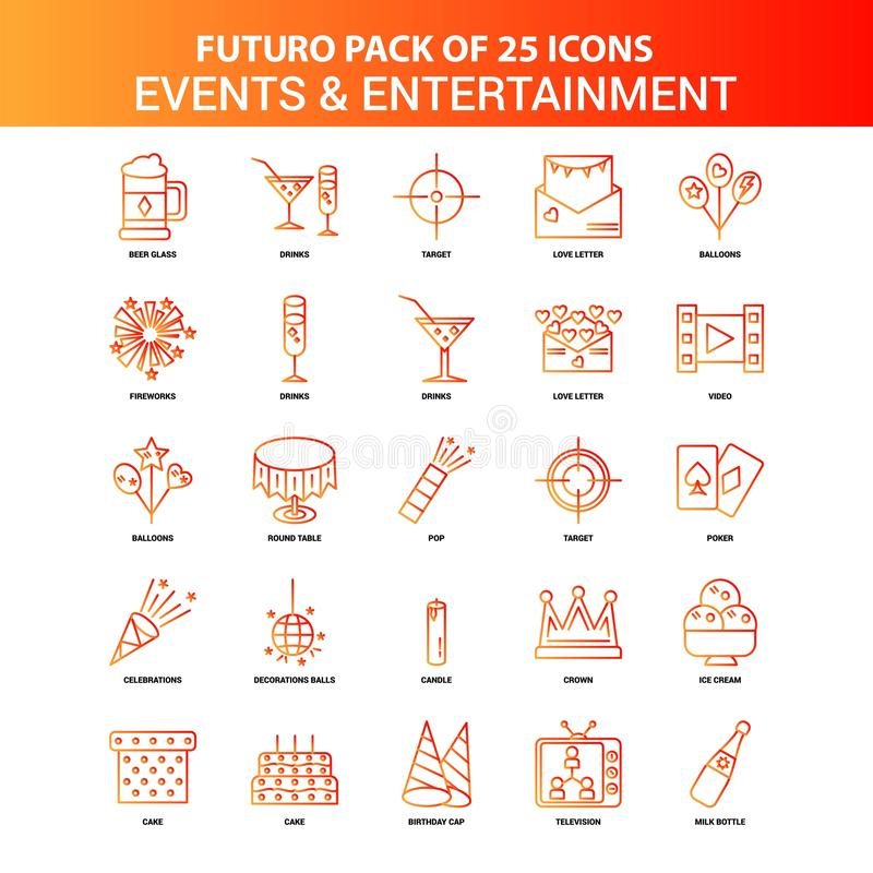 Orange Futuro 25 Events and Entertainment Icon Set. This Vector EPS 10 illustration is best for print media, web design, application design user interface and vector illustration