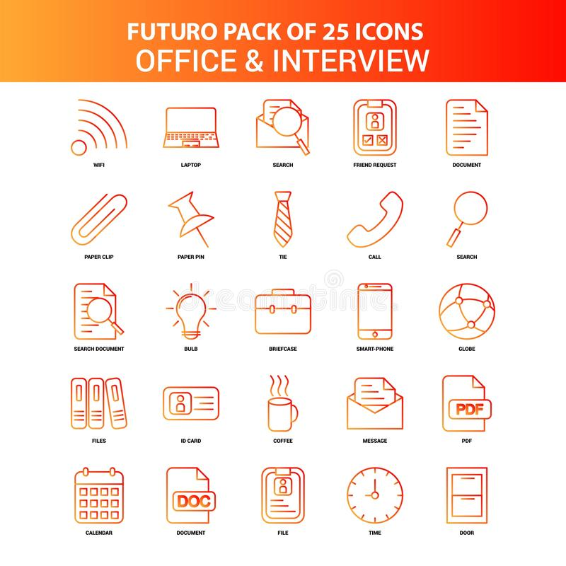 Orange Futuro 25 Office and Interview Icon Set. This Vector EPS 10 illustration is best for print media, web design, application design user interface and vector illustration