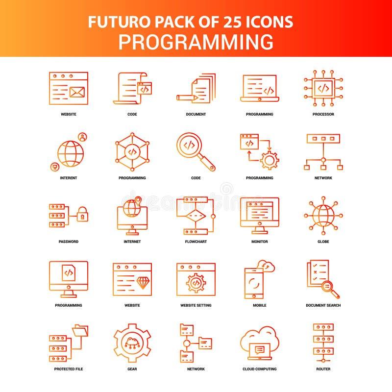 Orange Futuro 25 Programming Icon Set royalty free illustration