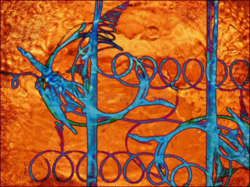 Orange fuzz, blue spirals stock photography