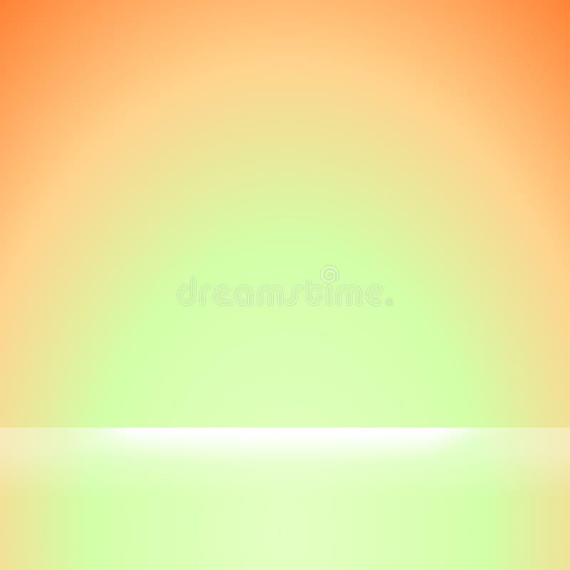 Orange fyrkant och gröna mjuka lutningfärger och vitt ljust sken för orange och grön mjuka färglutningtapeten den bakgrund, vektor illustrationer