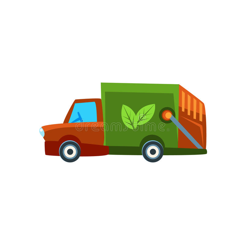 Orange Garbage Truck Toy Cute Car Icon. Flat Vector Transport Model Simple Illustration On White Background vector illustration
