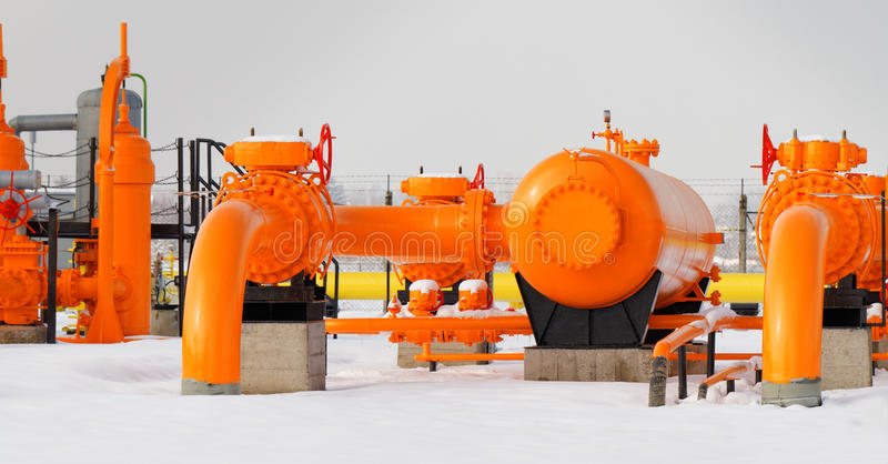 Orange gas pipe royalty free stock photography