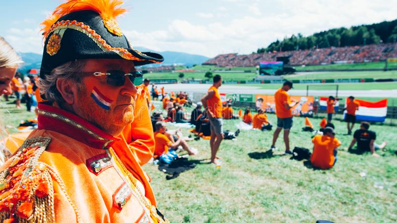 Orange Dutch General F1 racing fans royalty free stock photography