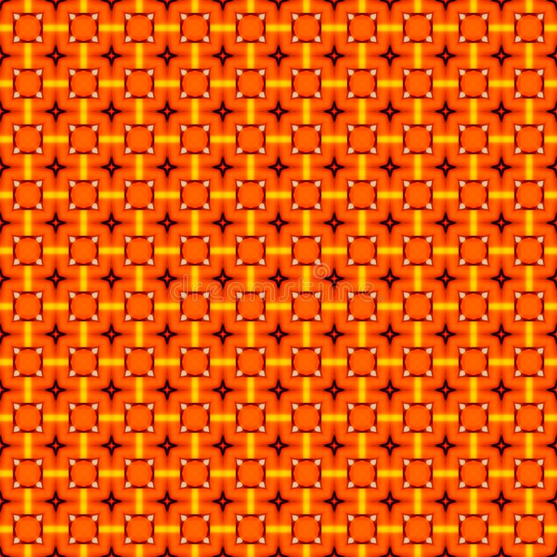 Orange geometric mosaic detailed seamless textured pattern background stock photography