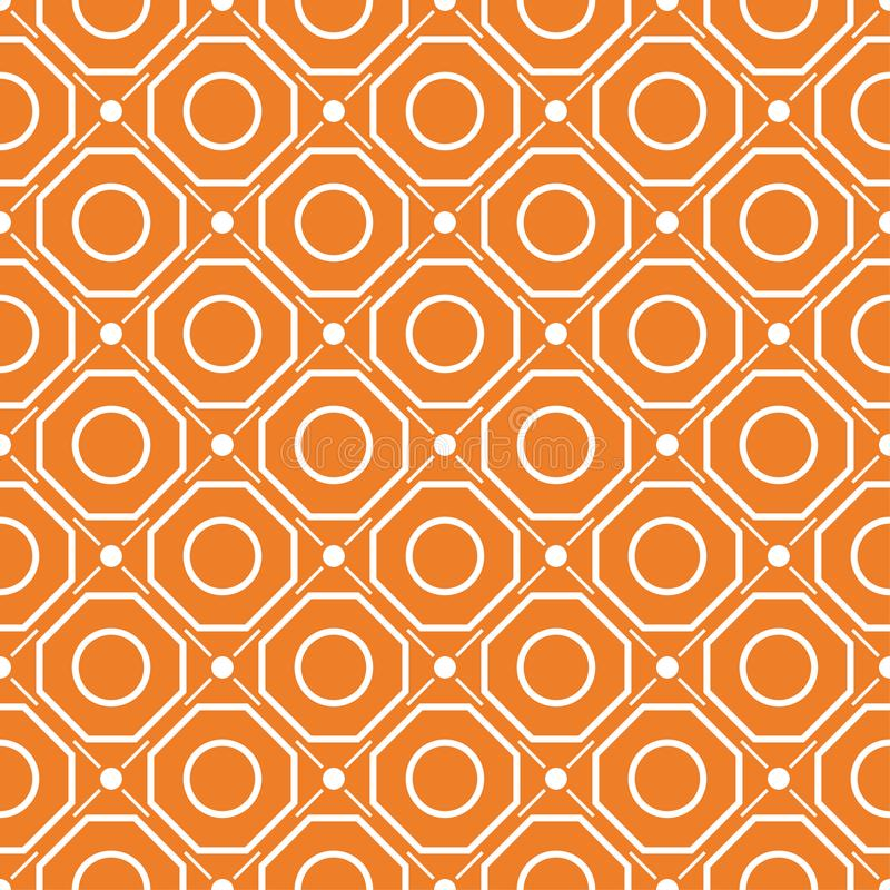 Orange geometric ornament. Seamless pattern stock illustration