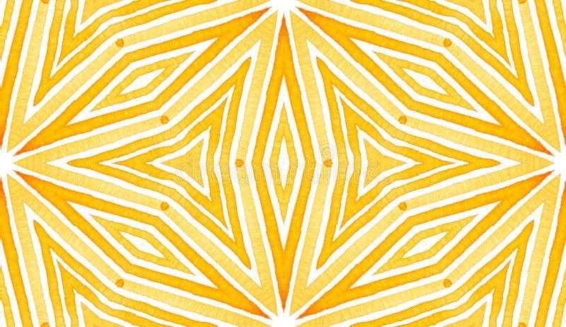 Orange Geometric Watercolor. Delicate Seamless Pat. Tern. Hand Drawn Stripes. Brush Texture. Fantastic Chevron Ornament. Fabric Cloth Swimwear Design Wallpaper royalty free stock photography