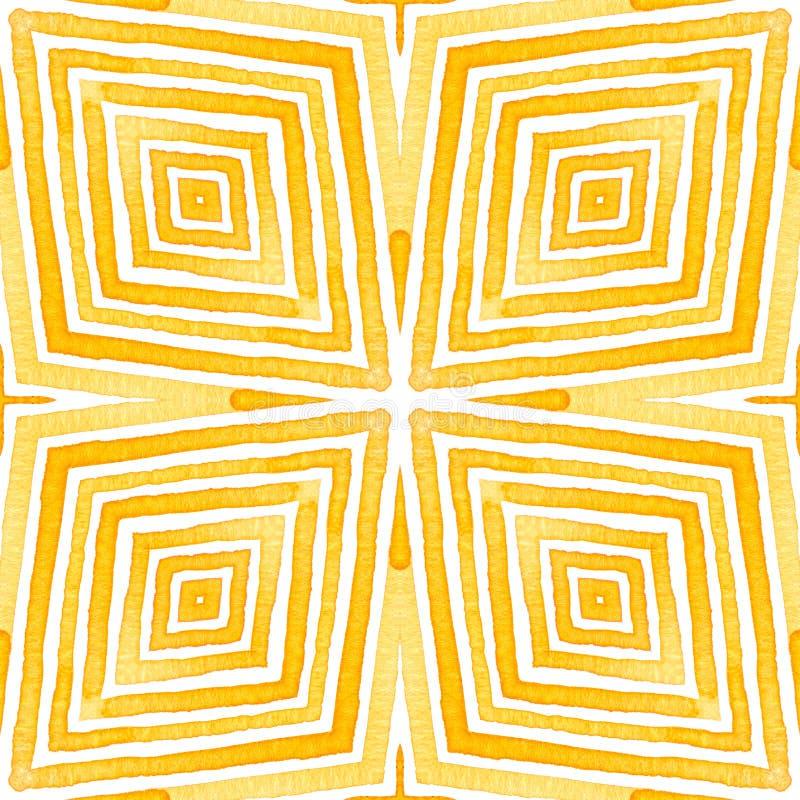 Orange Geometric Watercolor. Delicate Seamless Pat. Tern. Hand Drawn Stripes. Brush Texture. Dramatic Chevron Ornament. Fabric Cloth Swimwear Design Wallpaper royalty free illustration