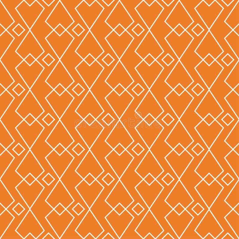 Orange geometrische Verzierung Nahtloses Muster lizenzfreie abbildung