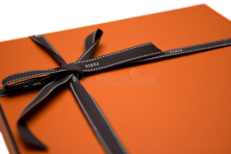 Orange Geschenkkasten stockfotos