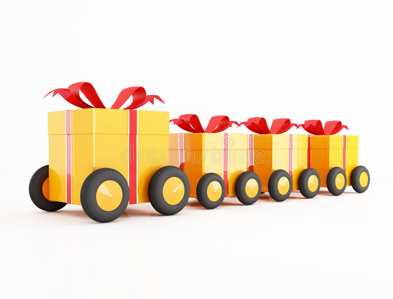 Orange gift box convoy on wheels royalty free illustration