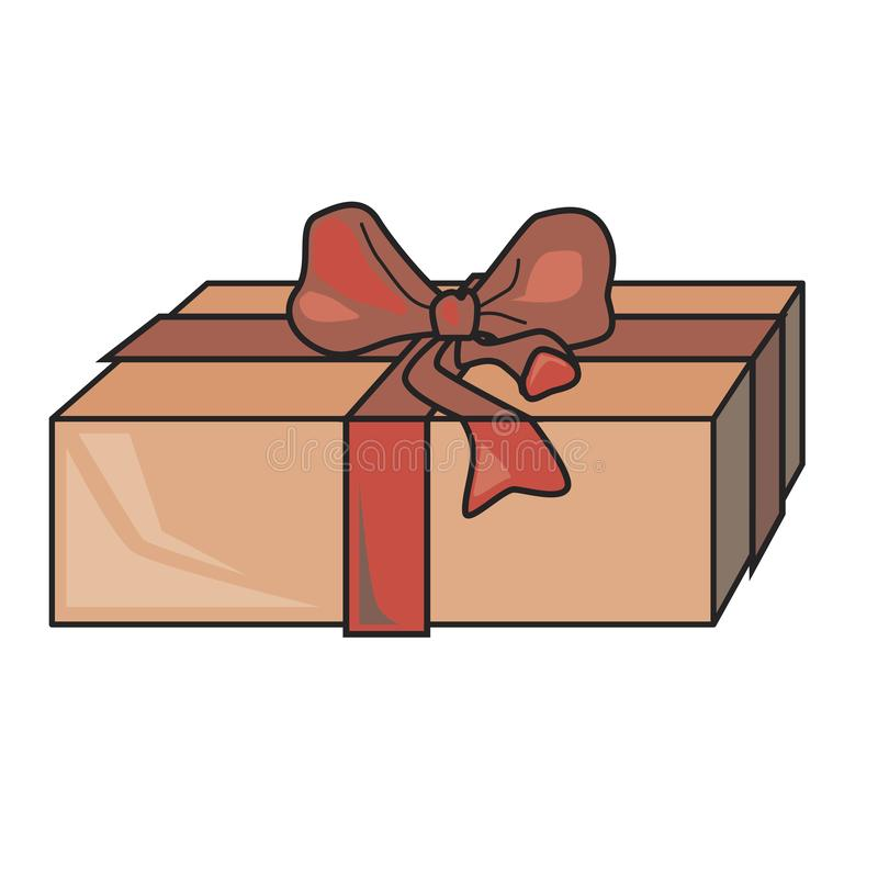 A orange gift box with red bow isolated on vector background. A single vector object for christmas, birthday and wedding stock illustration