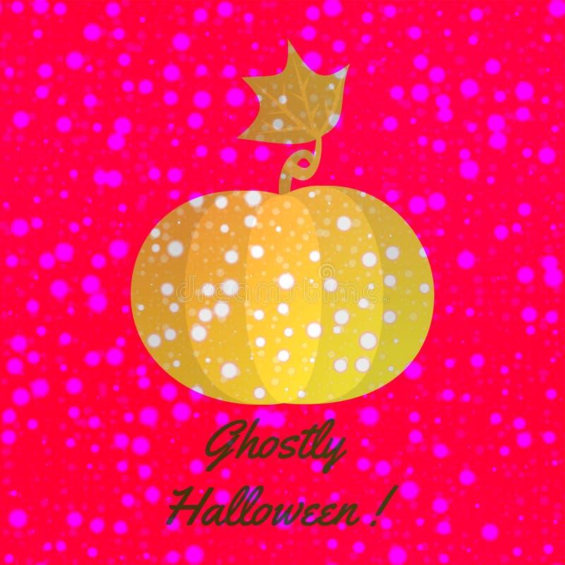 Orange glänsande pumpa med snöflingor på att skina den halloween designen royaltyfri illustrationer
