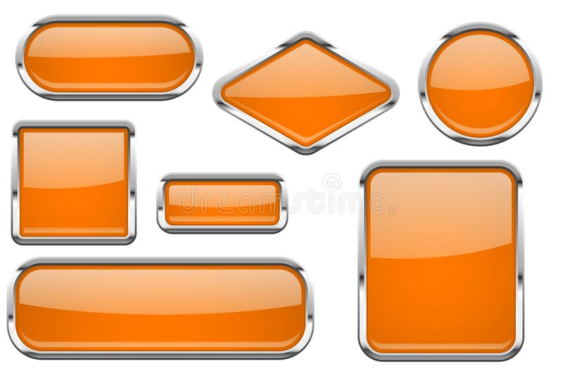 Orange glass buttons with chrome frame. Colored set of shiny 3d web icons. Vector illustration isolated on white background stock illustration
