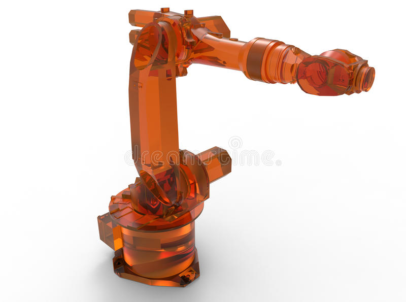 Orange glass industriell robotic arm vektor illustrationer