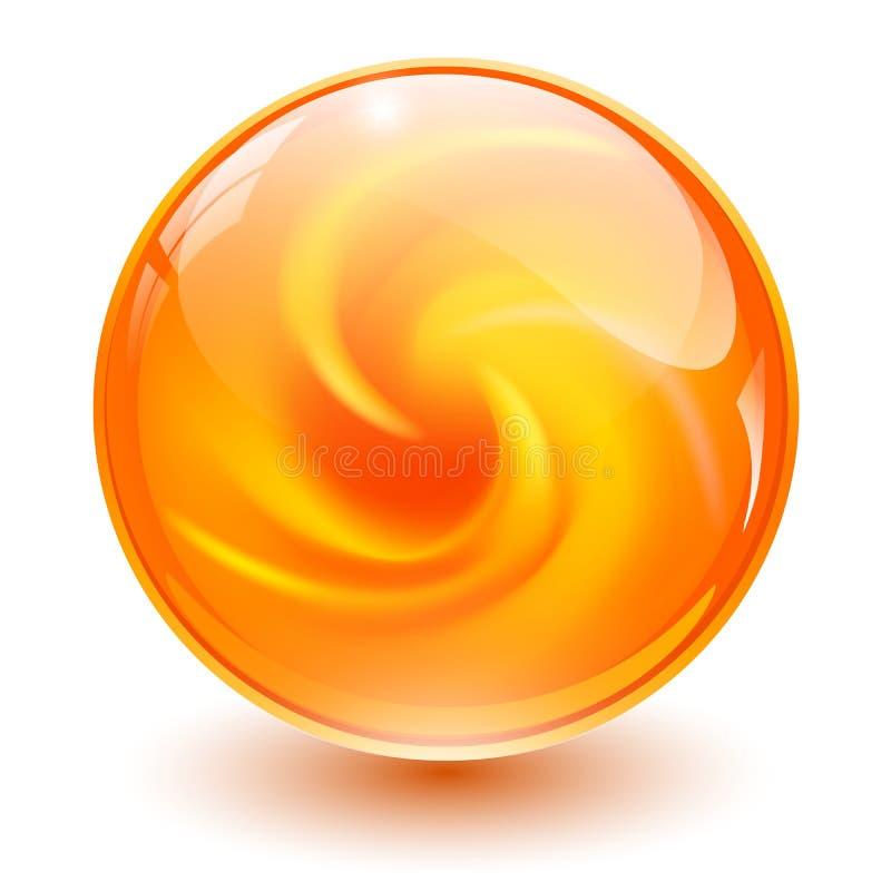 Orange glass sphere vector illustration