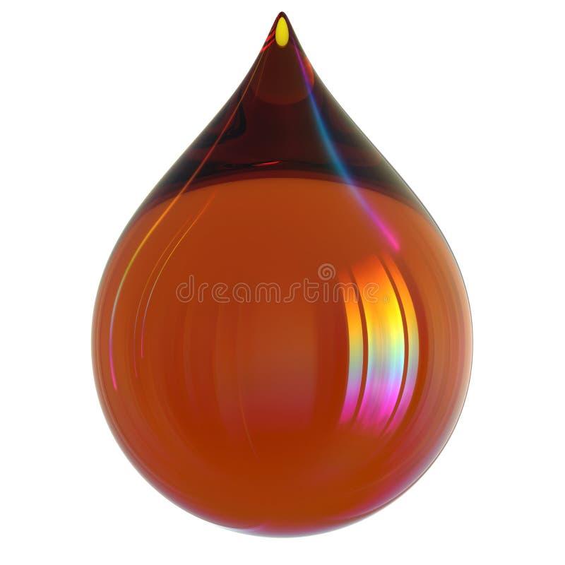 Orange glatte bunte Ikone des Öltropfentreibstoffbenzin-Tröpfchens stock abbildung