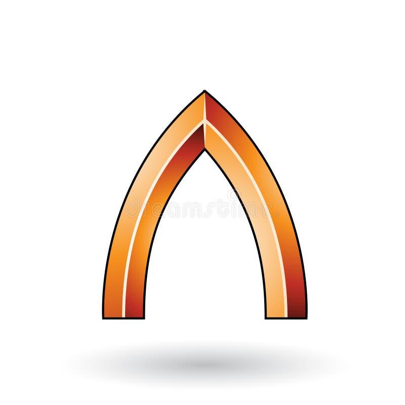 Orange glatter prägeartiger Buchstabe A mit einem dunklen Anschlag lokalisiert auf einem weißen Hintergrund vektor abbildung