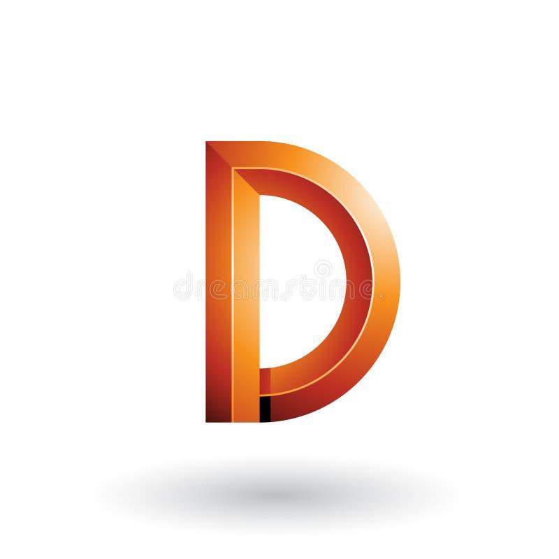 Orange glatter und mutiger 3d geometrischer Buchstabe D lokalisiert auf einem weißen Hintergrund stock abbildung