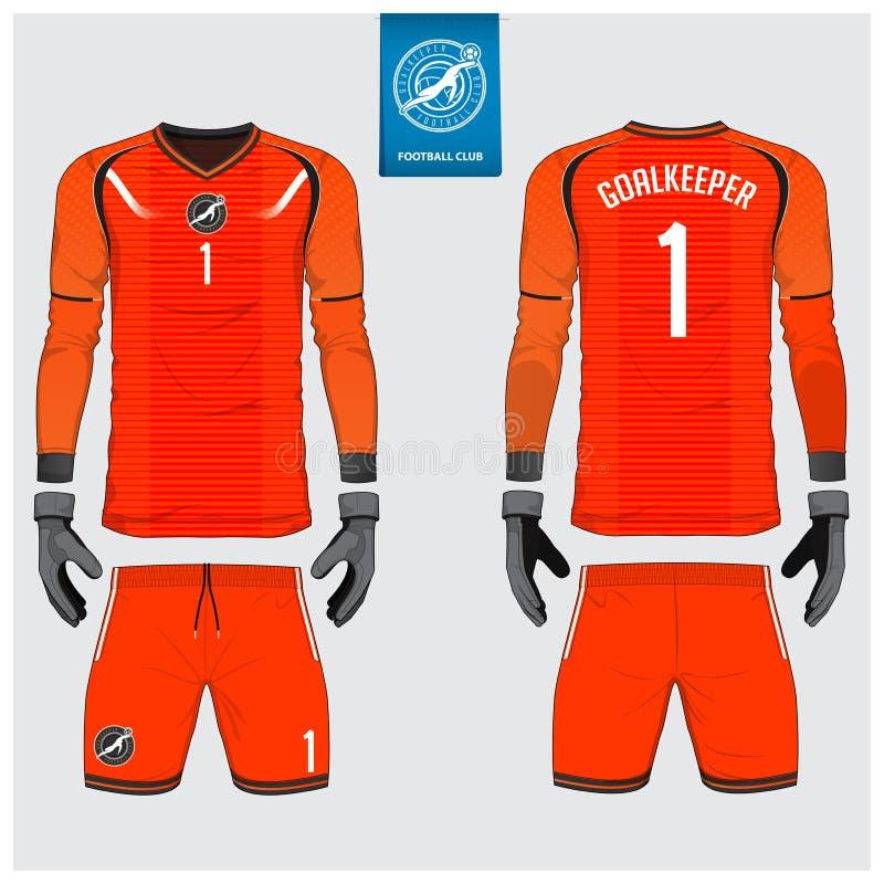 Orange Goalkeeper jersey or soccer kit, long sleeve jersey, goalkeeper glove template design.Front and back view football uniform. Orange Goalkeeper jersey or royalty free illustration