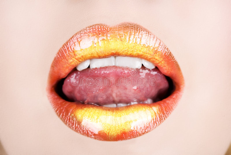 Download Orange gold lips stock photo. Image of playful, lipstick - 7911668