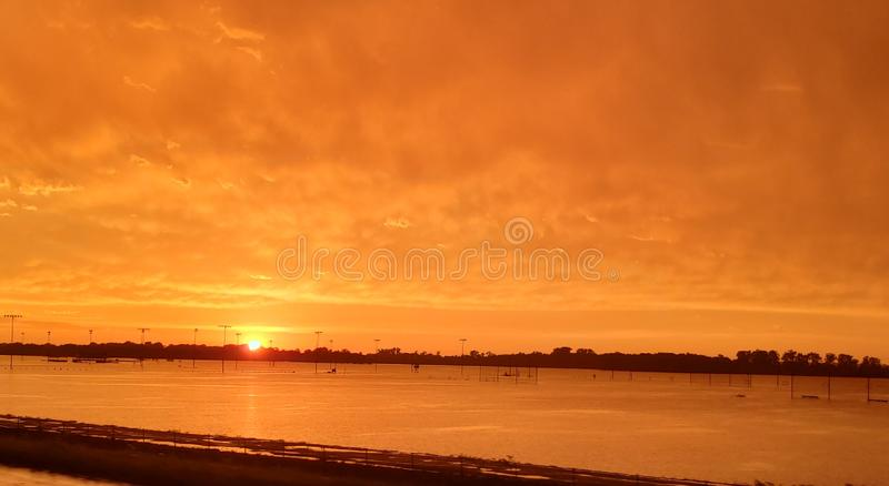 Orange and gold sunset royalty free stock photo