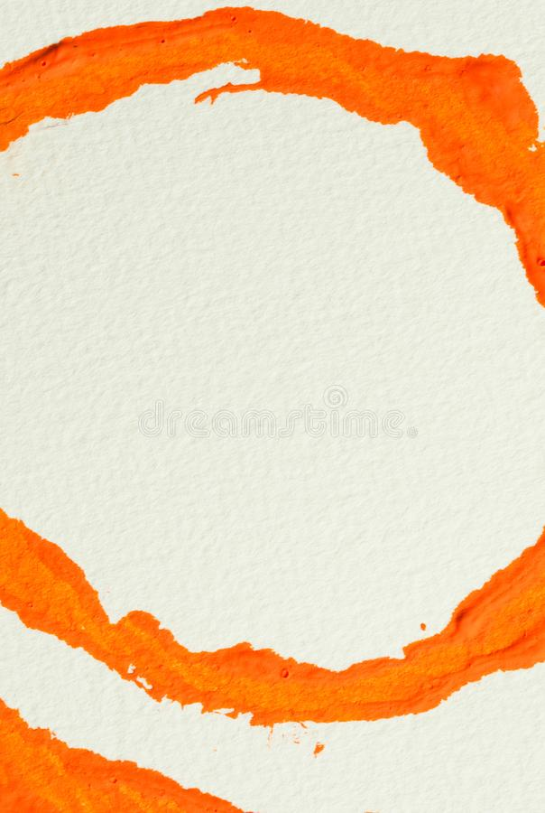 Orange gouache color, image detail. Orange abstract circle painting, gouache watercolor paint on white, image detail royalty free stock photos