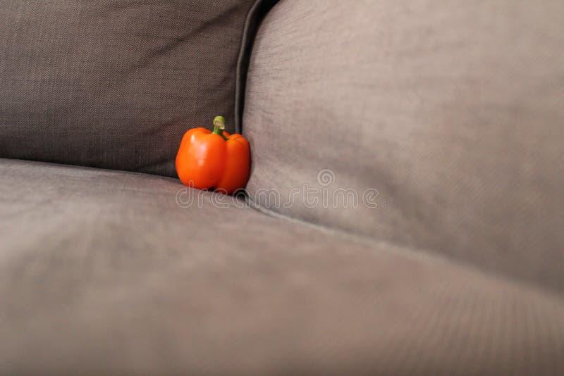 Orange grüner Pfeffer in der Ecke lizenzfreie stockfotos