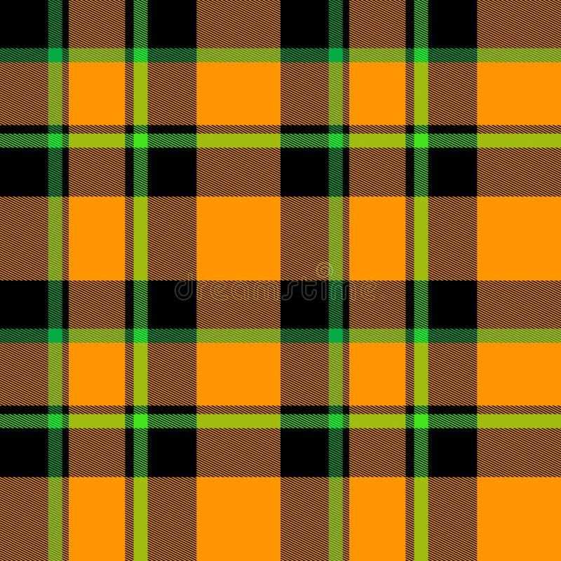 Orange grünes schwarzes Plaid stock abbildung
