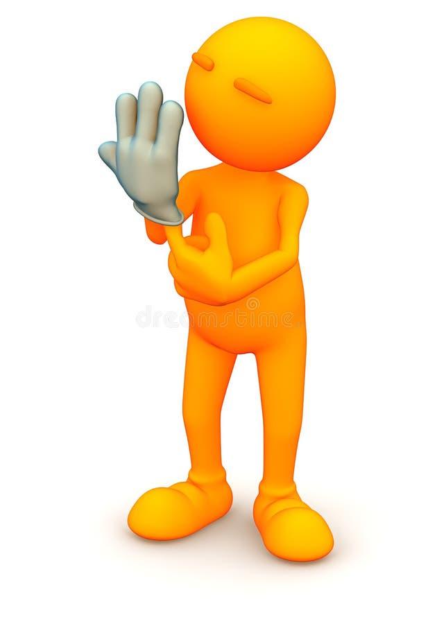 Orange grabb: För vinylsäkerhet för man bärande handske royaltyfri illustrationer