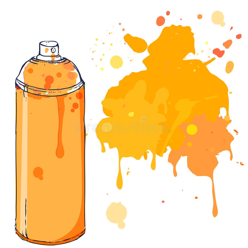 orange graffiti spray paint can with splash place for text vector rh dreamstime com