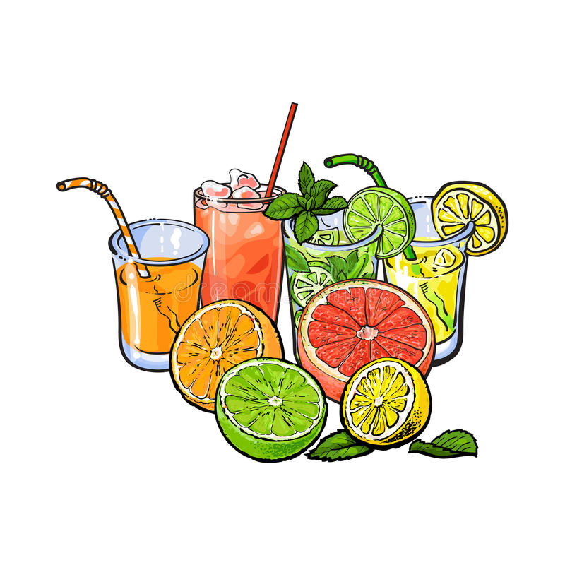 Free Orange, Grapefruit, Lime, Lemon Juice And Fruit Halves Royalty Free Stock Photos - 92106938